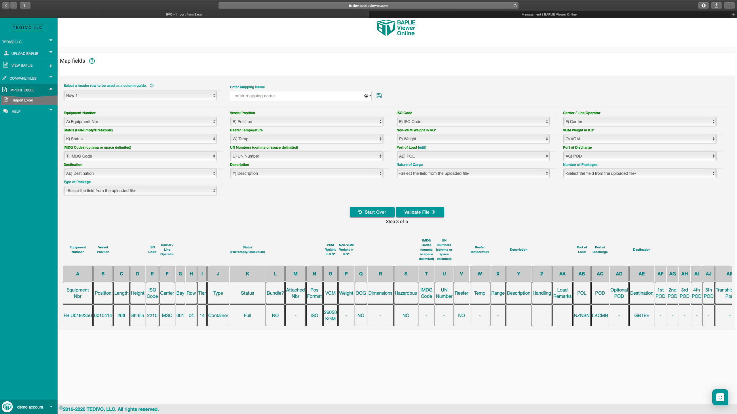 Screenshot of Import Excel